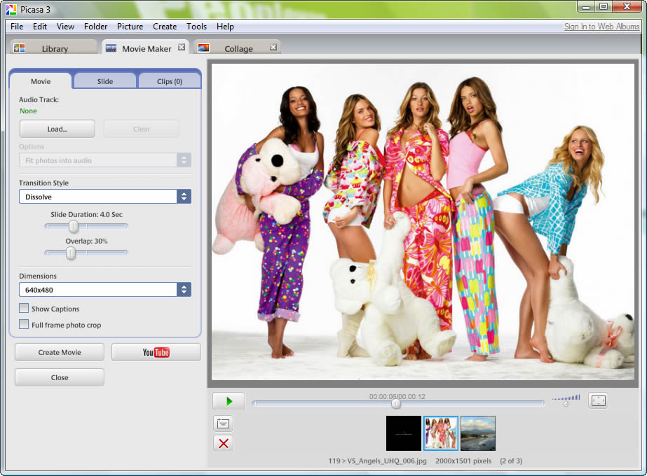 how to create video album in picasa
