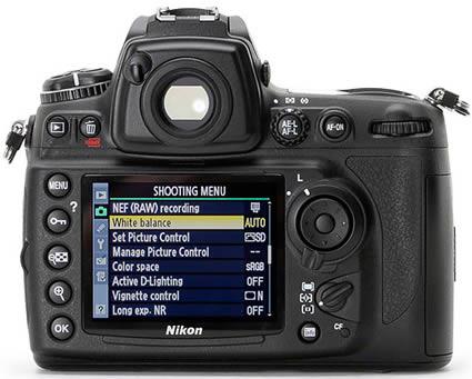 Imagem do menu de uma Nikon com RAW