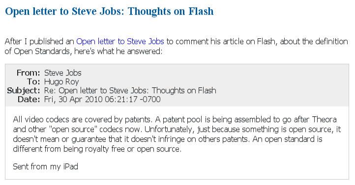 cdedd9df604 Esta carta de Steve Jobs é uma resposta a Hugo Roy da Free Software  Foundation. Roy recebeu esta carta e como carta aberta que era, publicou-a  no seu blog, ...