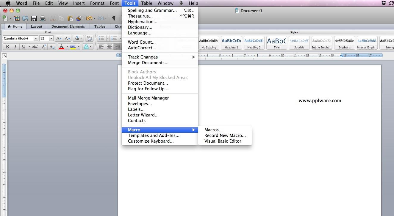 atalhos para o word mac