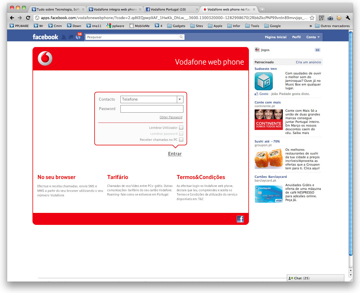 Vodafone integra web phone no Facebook - Pplware