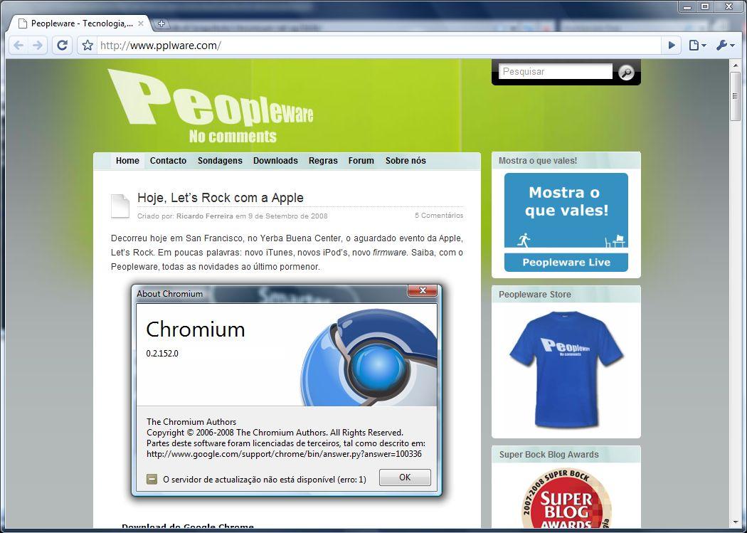 Google Chrome v0 3 154 6 - Portable - Pplware