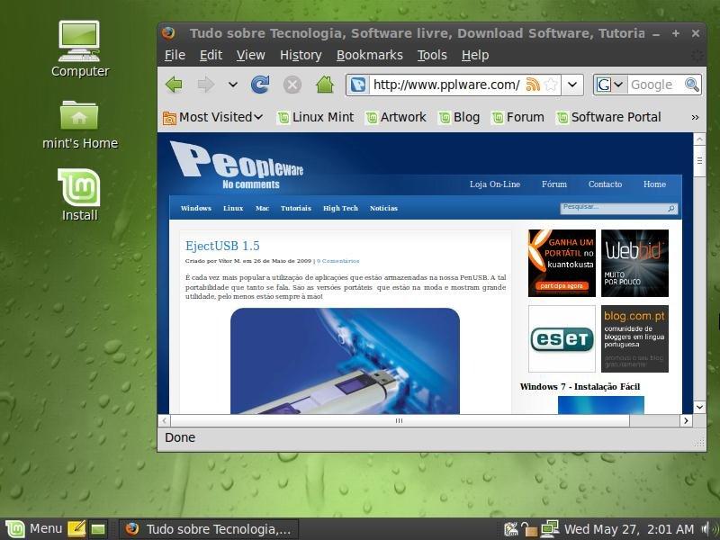 "Lançado Linux Mint 7 ""Gloria"" - Pplware"