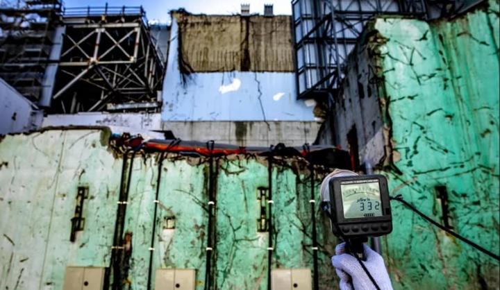 Imagem da central nuclear destruído, Fukushima, no Japão
