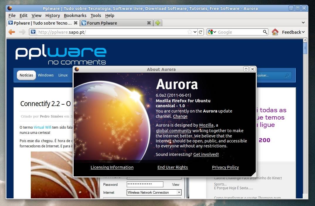 Firefox Aurora - Tenha-o no seu Ubuntu - Pplware
