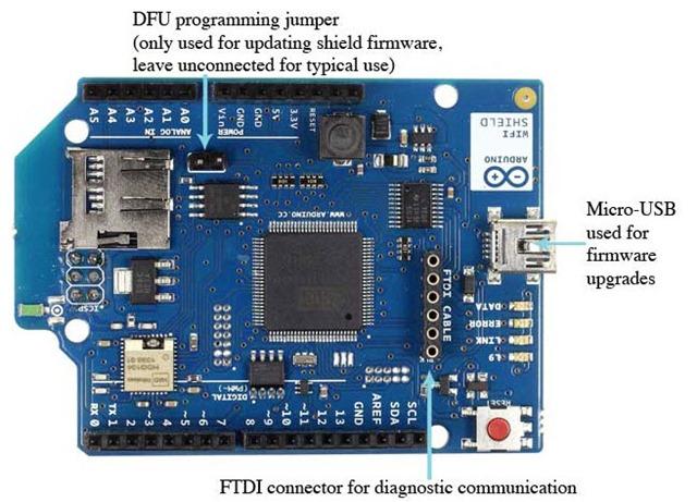 Wi fi shield o arduino com suporte para redes wireless