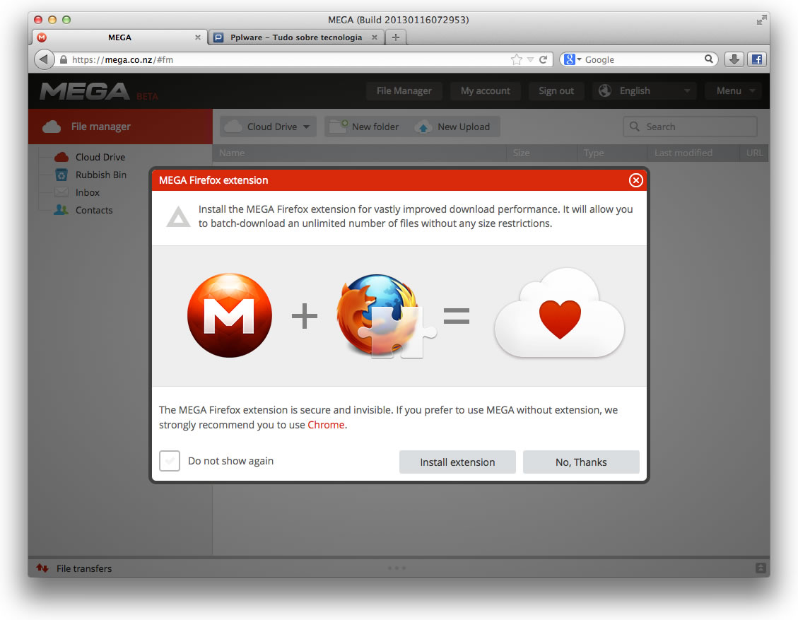 O Mega já tem uma extensão para Firefox - Pplware