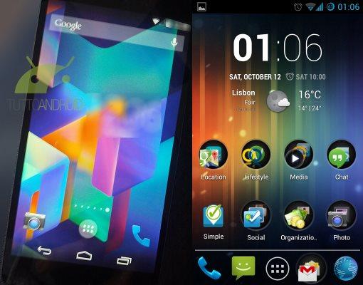 Android 4.4 KitKat à esquerda e Android 4.2.2 à direita