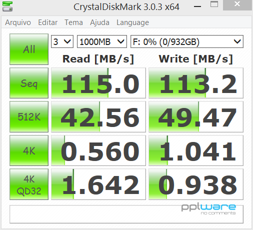 Benchmark do HDD no CrystalDiskMark.