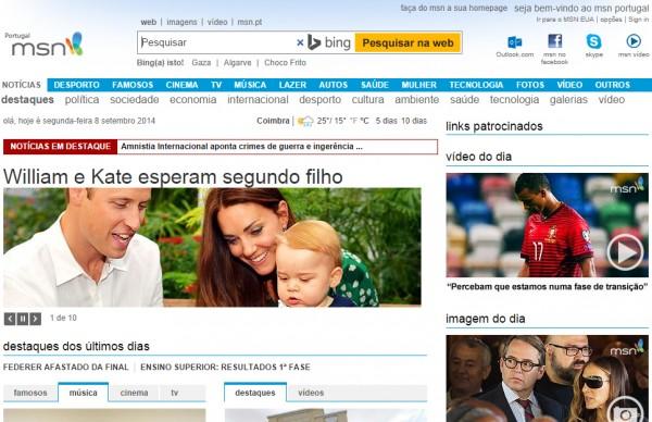 Layout actual do MSN