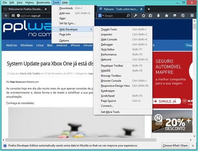 Já está disponível o novo Firefox Developer Edition - Pplware