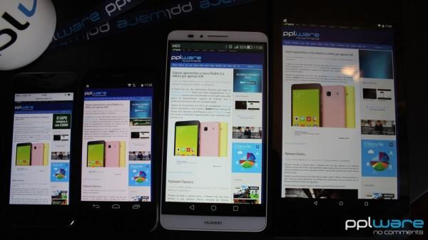 A página do Pplware vista a partir de um iPhone 5s (4''), Moto G (4.5''), Huawei Ascend Mate 7 (6'') e Nexus 7 (2013) (7''). Com o phablet de 6'' consegue-se o mesmo conforto do tablet de 7'', sem perder demasiada portabilidade.