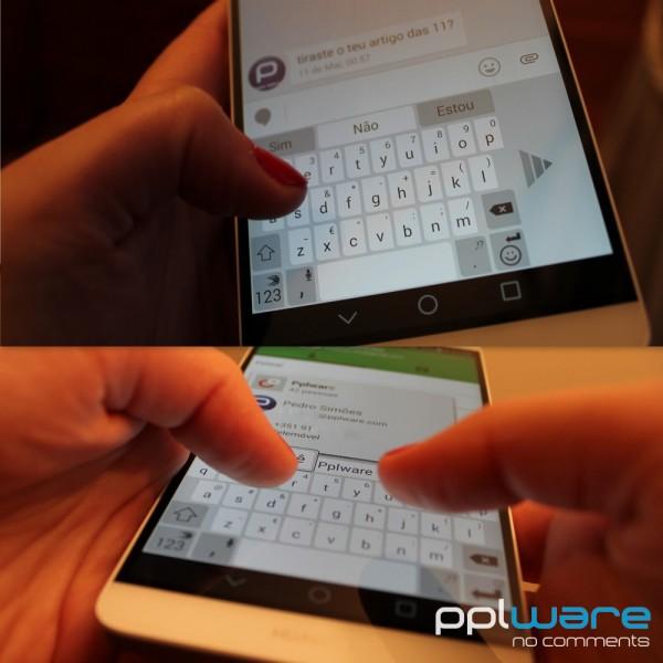 Escrever com uma só mão num ecrã de 6'' não é impossível utilizando os modos de acessibilidade que muitos teclados já incluem.