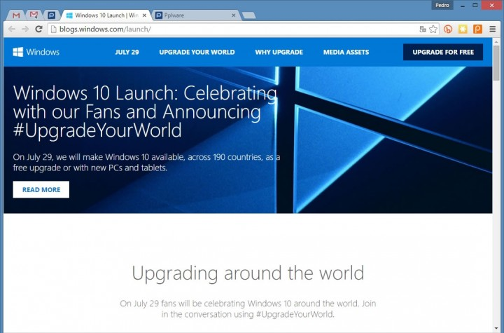 Microsoft revela site oficial para lan amento do windows 10 for Windows 10 site