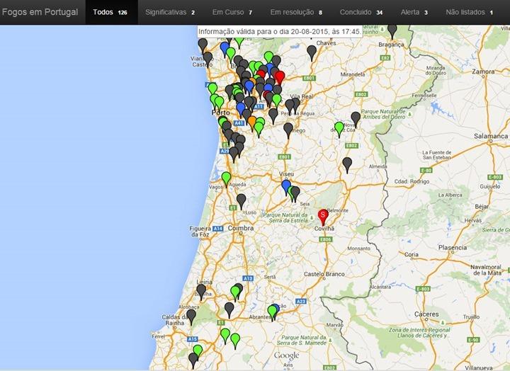 mapa dos fogos Portugal: Site mostra em tempo real estado dos incêndios   Pplware mapa dos fogos
