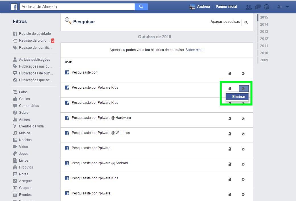 78197eb02 Facebook: Como apagar a lista de pesquisa?