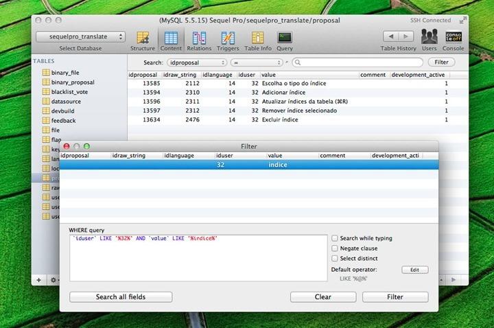 NewAdvancedFilter para gerir MySQL