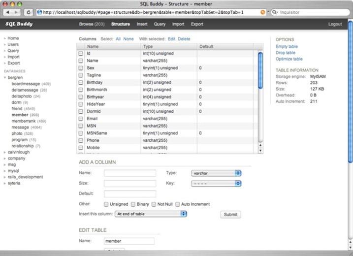 SQL Buddy para ajudar na gestão do MySQL