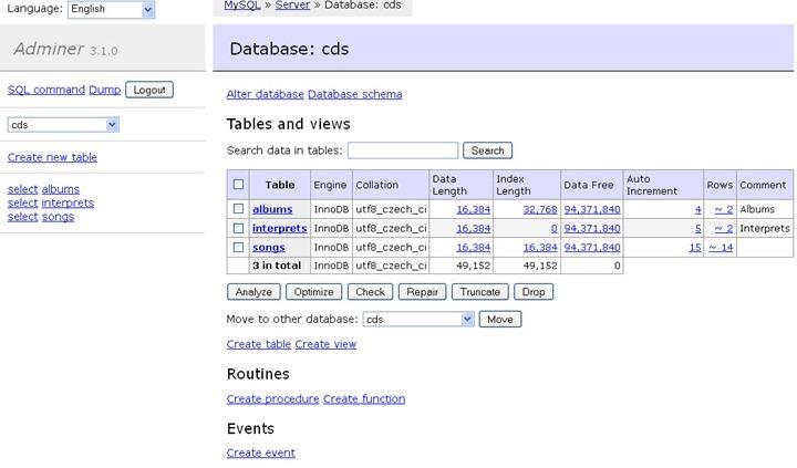 Adminer adiciona muitas funcionalidades ao MySQL