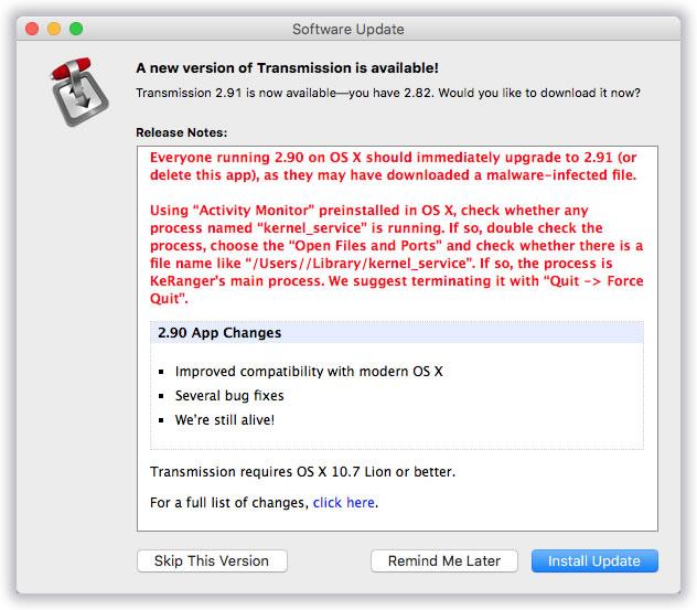 Primeiro Ransomware para Mac encontrado no Transmission