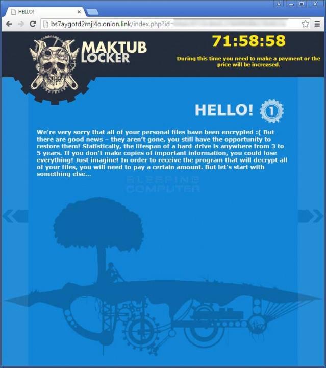 Locker Maktub hello page