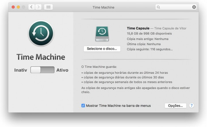 Como fazer cópias de segurança ao Mac com a Time Machine