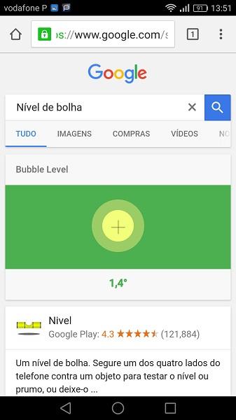 Google nivel de bolha