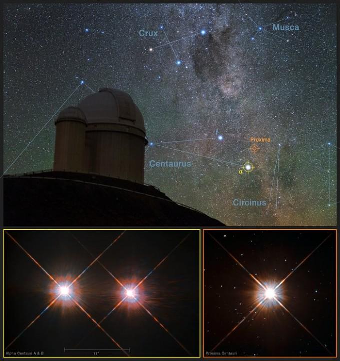 the XE7 located & #; & # XE3, the  Proxima Centauri in c & # xE9; austral u. Cr  & # xE9, said: Y. Beletsky (LCO) / ESO / ESA  / NASA / M. Zamani