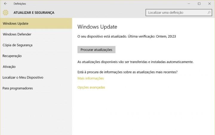 Actualização de Aniversário Windows updade