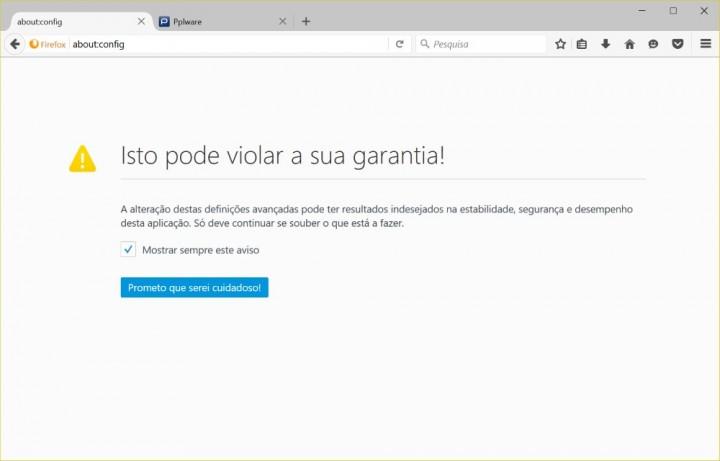 Firefox definições