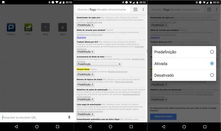 Chrome Android configurar