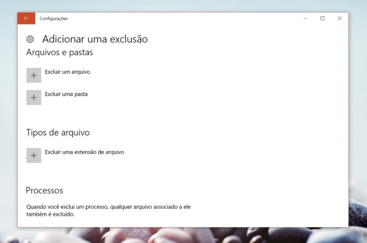 Windows Defender exclusões detalhe