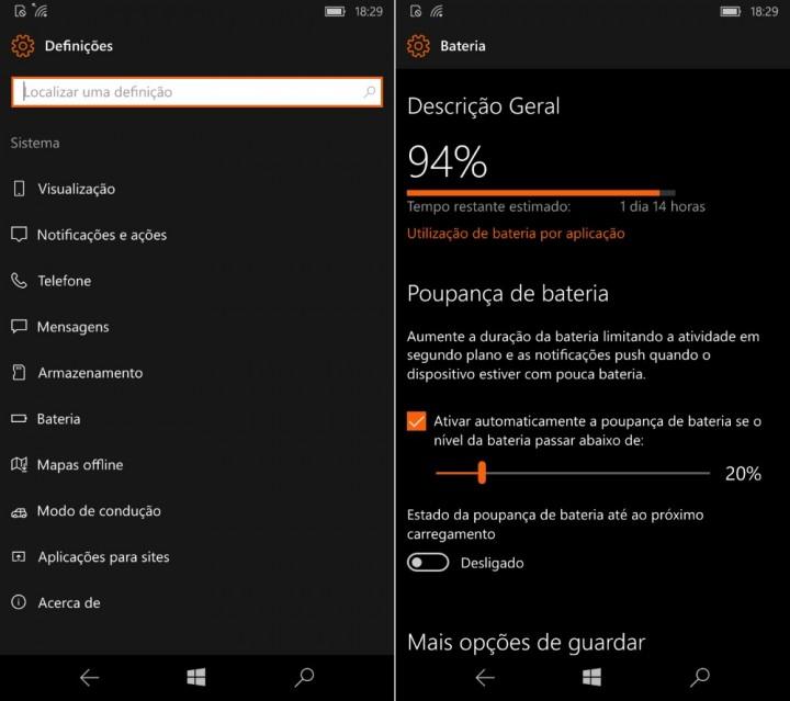 Windows 10 Mobile Poupança da bateria