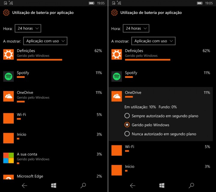 Windows 10 Mobile aplicações