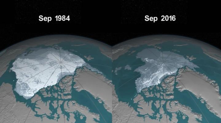 NASA mostra desaparecimento drástico do gelo no Árctico