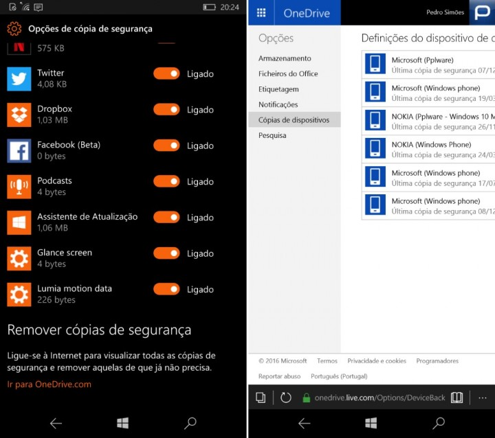 Windows 10 Mobile gerir backups
