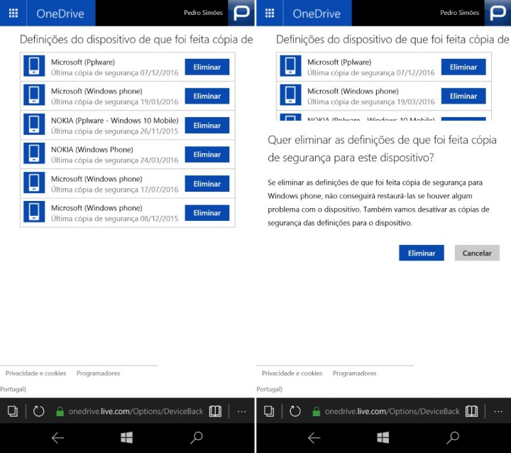 Windows 10 Mobile apagar backups