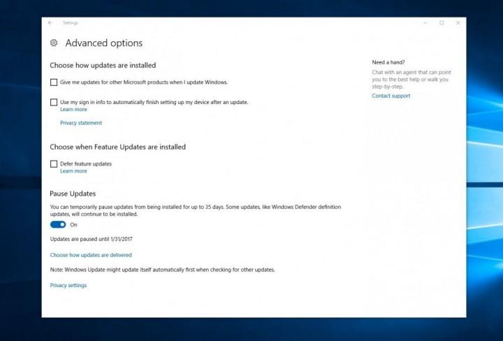 Windows 10 pausa actualizações