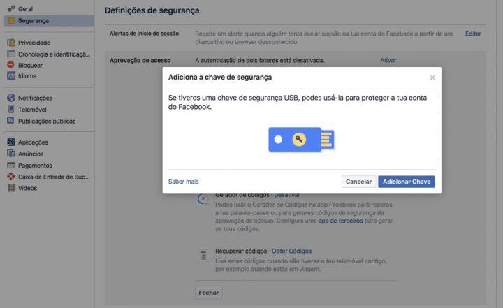 Ainda mais segurança no Facebook
