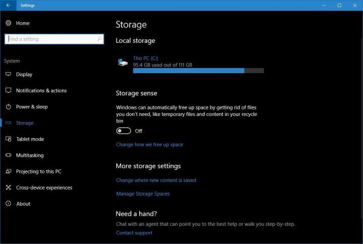 Windows 10 espaço disco