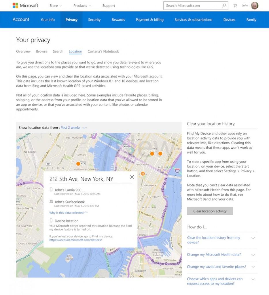 Windows 10 centro de privacidade