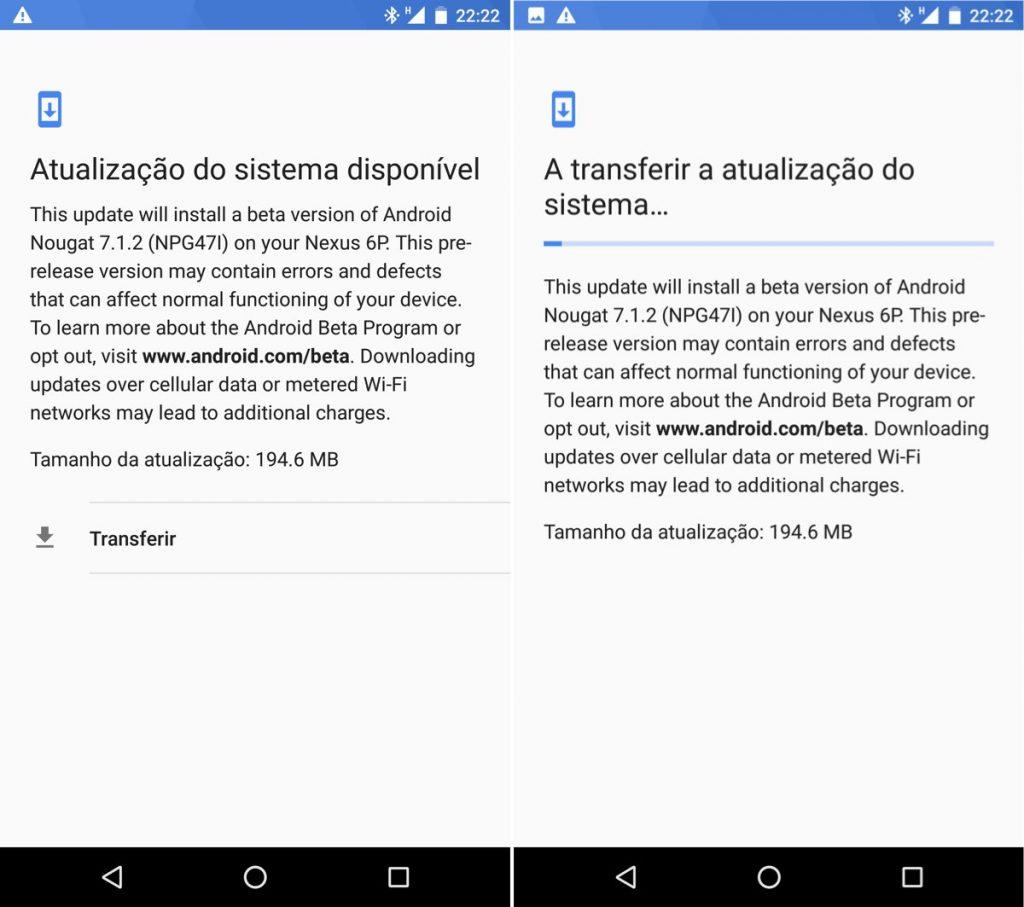 Atualização Android 7.1.2