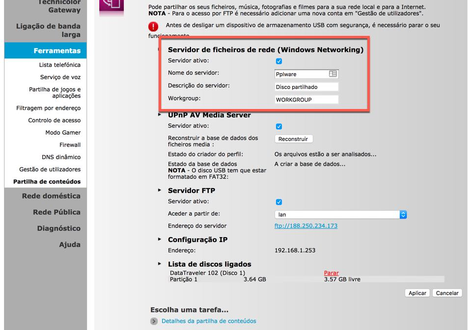 router meo partilhe o conteúdo de uma pen disco usbagora, a partir de qualquer pc ligado à rede, basta aceder à zona de partilha e procurar pelo nome que indicaram para o servidor de partilha de ficheiros