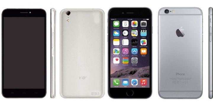 Smartphone 100c ao lado do iPhone 6