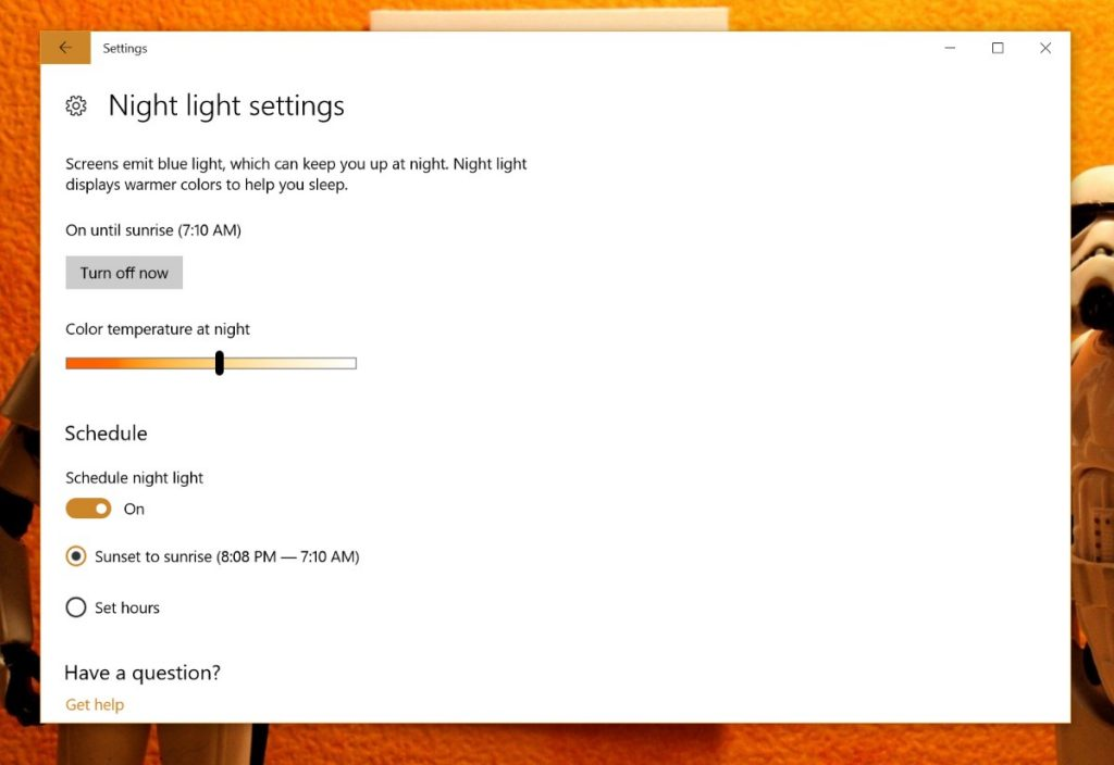 Night Light Windows 10 Definições