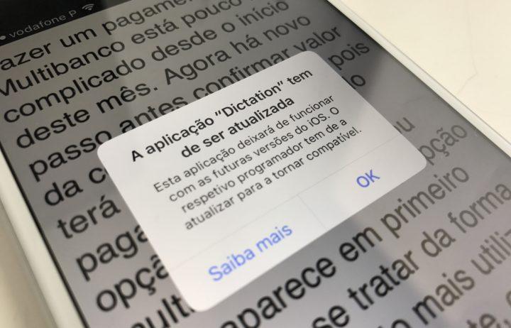 Avisos que aparece nas apps desatualizadas