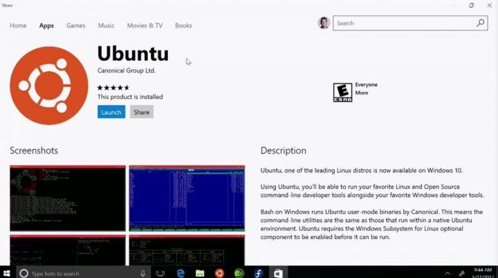 Windows 10 app store Ubuntu