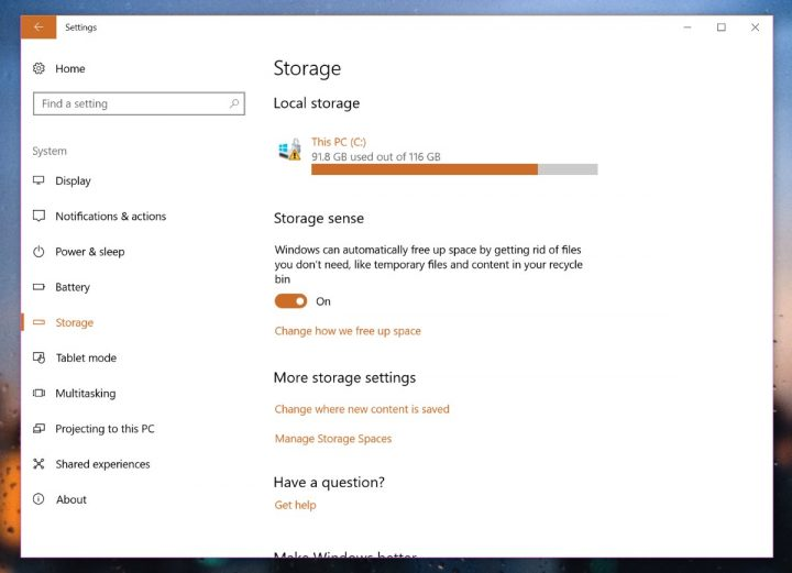 Windows 10 Armazenamento