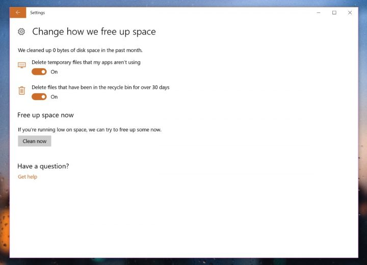 Windows 10 Sensor de armazenamento