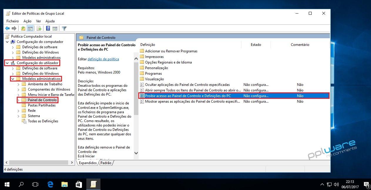 Windows 10 painel de controlo